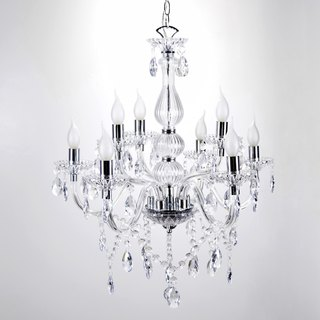 BNL00095-Transparent classical 8-light double-decker candle chandelier