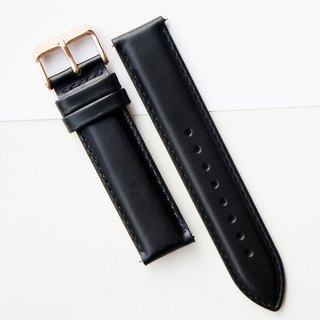 【PICONO】Quick release black leather strap - Rosegold Buckle