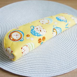 Lovely [Japan cloth] CAFE cat bear flower cutlery bag, pencil bag, pink yellow 23-24 cm chopsticks