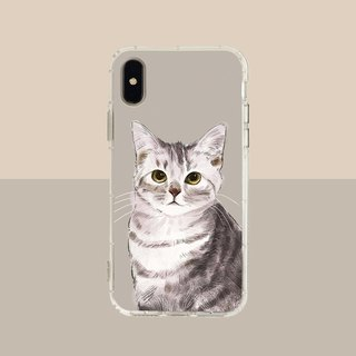 Big face gray cat embossed air shell-iPhone/Samsung, HTC.OPPO.ASUS/Original pet phone case