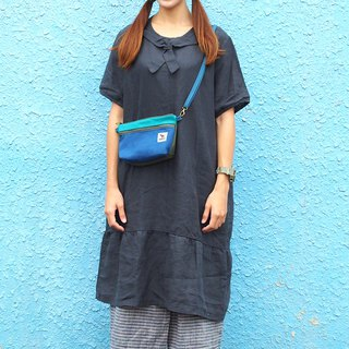 Maverick Village handmade small side backpack cloth bag Japanese [mini cross-body bag - ride the wind blue ocean] SH-03