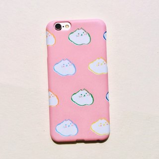 Pink cloud cat matte phone hard shell