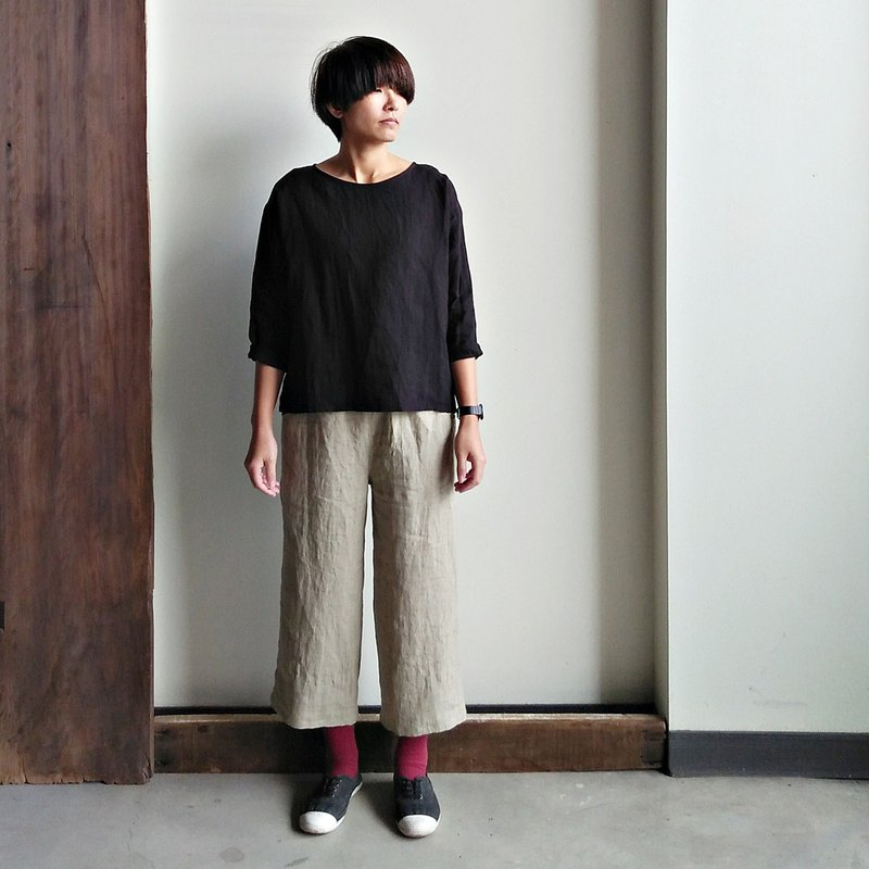 Elastic straight cropped trousers linen khaki / optional colors