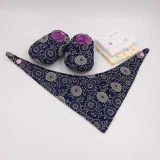 Classical pattern - Miyue baby gift box (toddler shoes / baby shoes / baby shoes + 2 handkerchief + scarf)