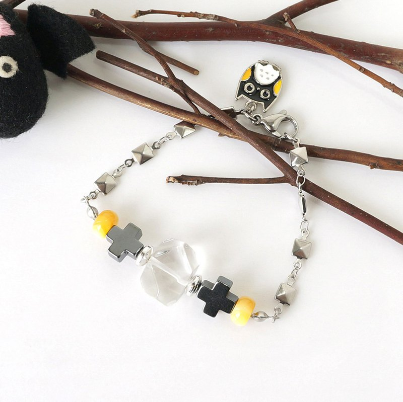 Clear Quartz Crystal Bracelet with Cute Owl Charm