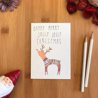 JOLLY JELLY REINDEER Christmas card hand-painted illustration of imported green paper card C043