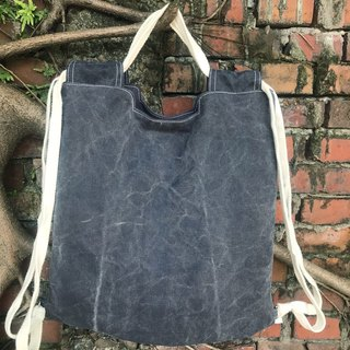 Unusual beam pocket backpack shoulder bag backpack beam backpack stone wash dark blue