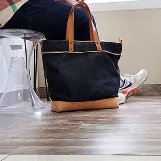 Denim and Leather Tote Bag / Mens Tote Bag / Work Bag / Carry All / Weekender