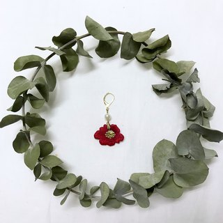 Japanese pile flower hand embroidery earrings