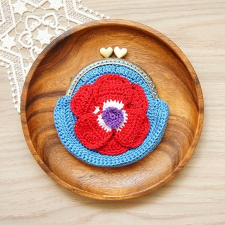 Hand-knitted flower series red beautiful population gold bag (coin purse small bag cosmetic bag)