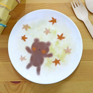 6.5 inch porcelain plate fall in love - the Cubs / four seasons series a total of four / autumn / bear / maple / plate / plate / bone plate / microwave / through SGS