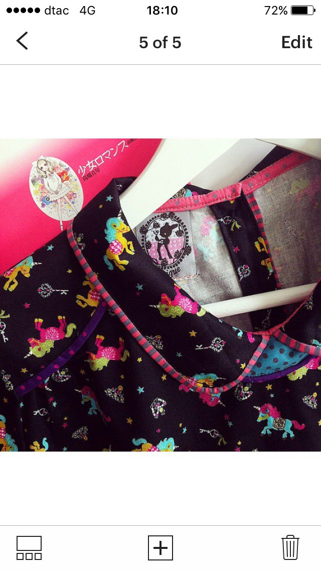 "Cute handmade Japanese canvas (thick cotton) fabric ""Glitter Unicorn"" blouse"