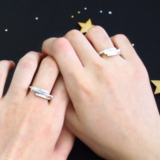 Couple Ring Star trails Trail Orbit Satellite Silver Rings - 2 Only