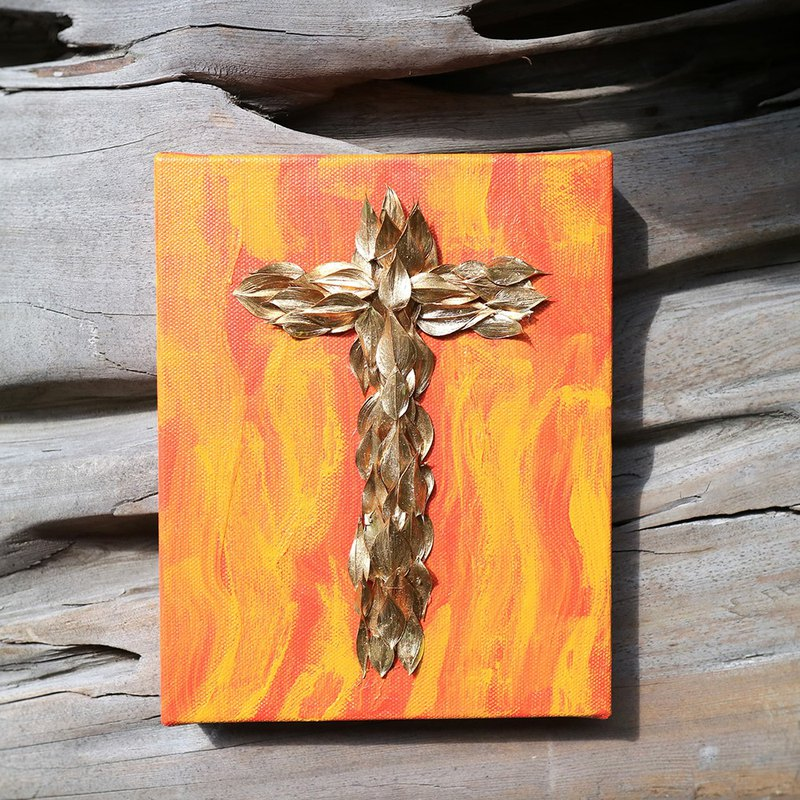 PJ Small Garden* | Dry Flowers. Hand Painted Canvas Cross (Gold Leaf 4) | Thanksgiving Christmas