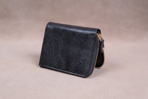 Zipper Wallet / Coin Wallet / Italy Lizard Cow Leather(Black)