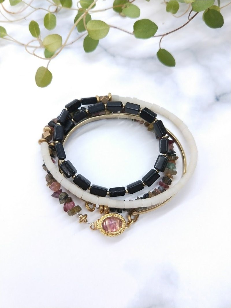 wristband. Hand-punch brass*tourmaline*purple fluorite*glass*black chalcedony multi-ring bracelet bracelet