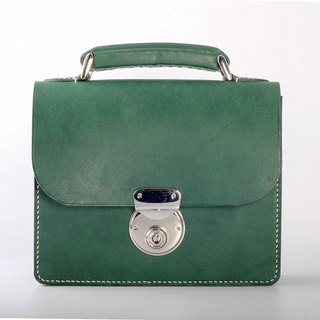 Egawa [Hands] mini buckle small square package + Handle (green) Italian vegetable tanned leather