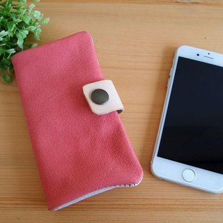 [Custom-made classic pink] pig leather soft Sumahokesu [various models] leather cover [iphone6, xperia, galaxy]