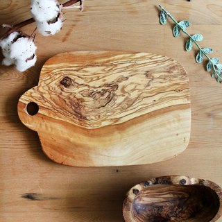 British Naturally Med olive wood solid oval with hanging hole cutting board / board / display board