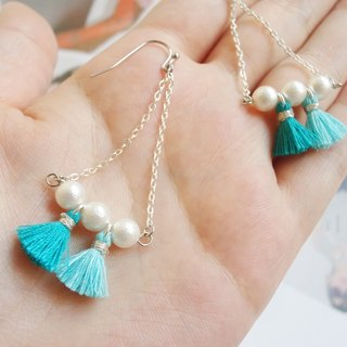 Tassels & Cotton Pearls earrings/ear-clips (tailor-made available)