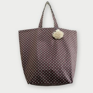 Fabric Bag | Large Market Bag - Polkadot Bag (Brown Color)