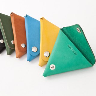# PURE DESIGN # vegetable tanned cow leather triangular purse / triangular small 銭 into れ