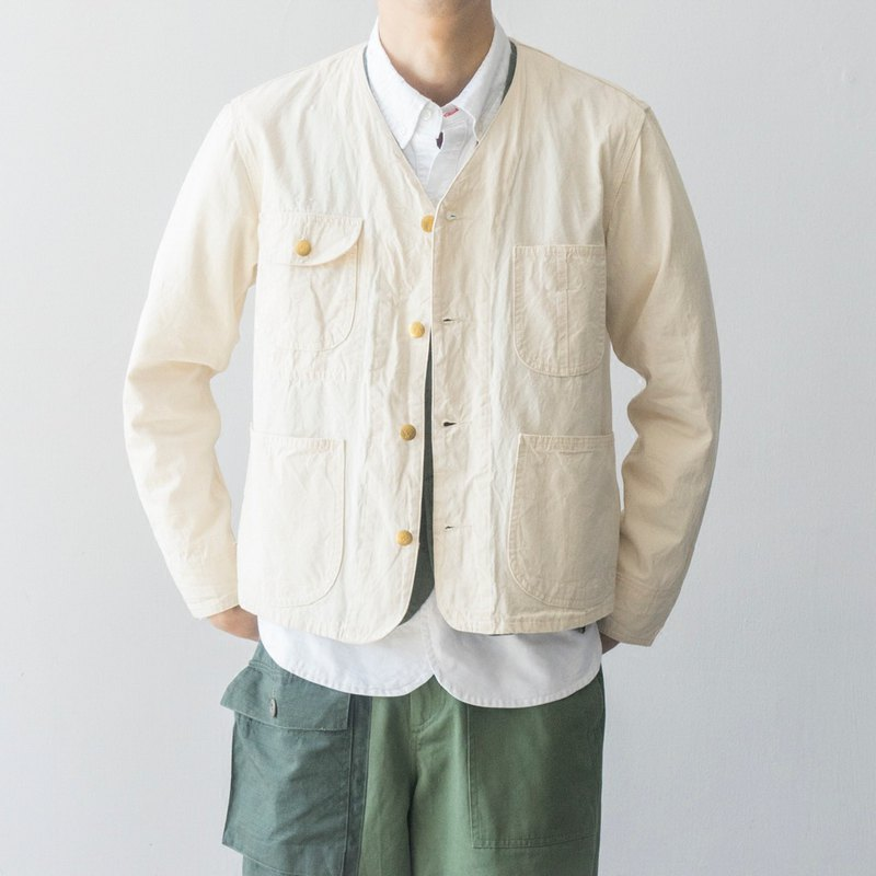 Lab store This white character French railway jacket four bags tooling jacket Railroad Jacket