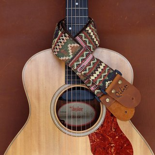 Red-Green Woven Guitar Strap