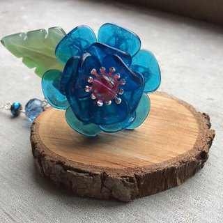 Miao hand made ~ classical rose hairpin (blue)