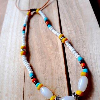 White pigeon White Pigeon Necklace (Love + Peace) Glass beads Aboriginal can set
