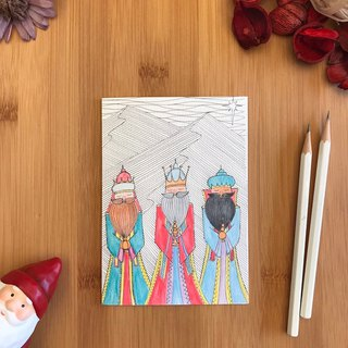 THREE WISE MEN Christmas card hand-painted illustration of environmentally friendly paper imported cards C105