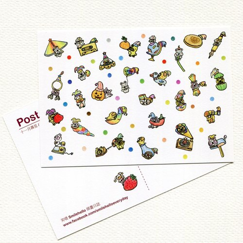 Happy birthday every day (November birthday) Series / Laughing Hello Smilehello log postcard illustration