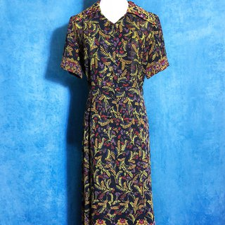 Complex totem chiffon short-sleeved vintage dress / brought back to VINTAGE abroad