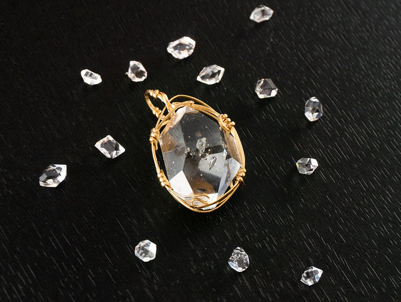 Edith & Jaz • Herkimer Diamond Wire Wrapped Pendant (Gold Filled Wire) G2