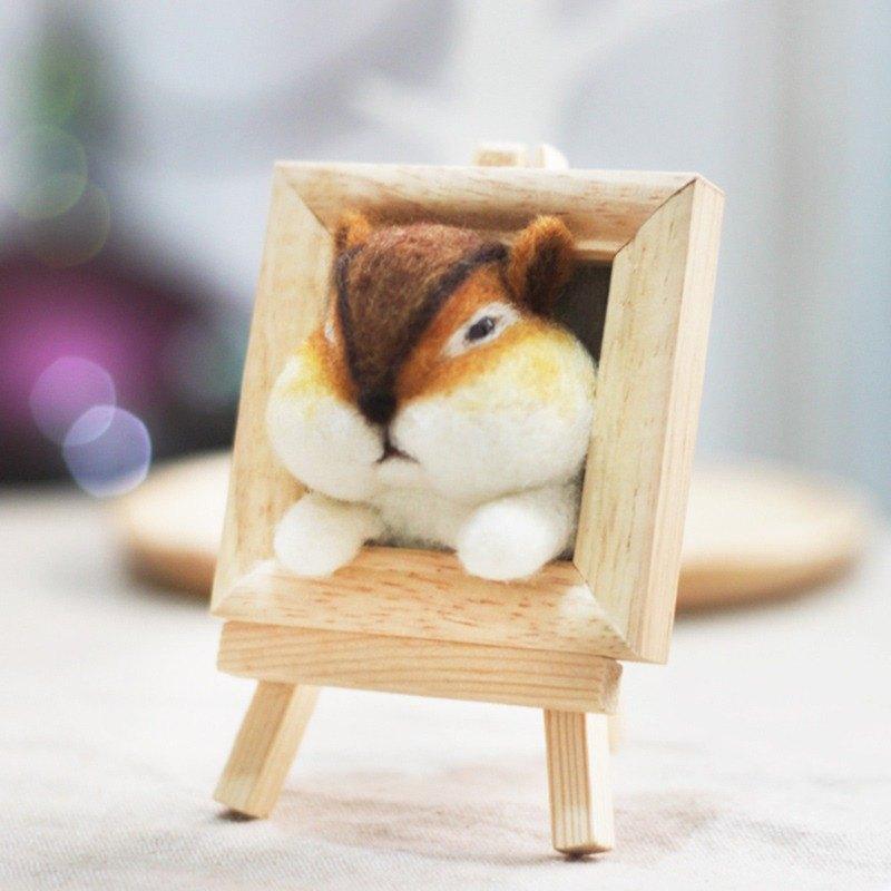 花栗鼠頭部羊毛氈相框款材料包 聖誕禮物(附影片教學)