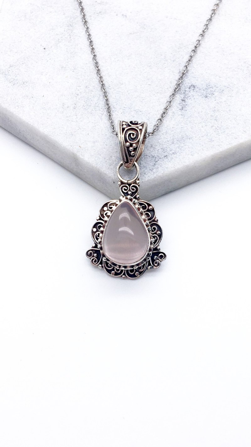 Pink crystal 925 sterling silver heavy heart-shaped necklace necklace Nepal handmade inlaid - Style 5