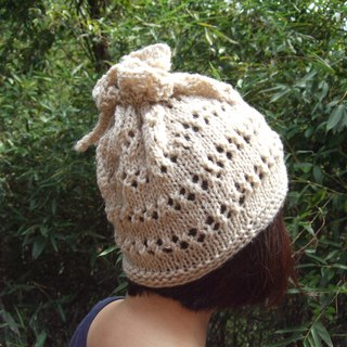 Handmade hand-made wool hat bib for use - Beige