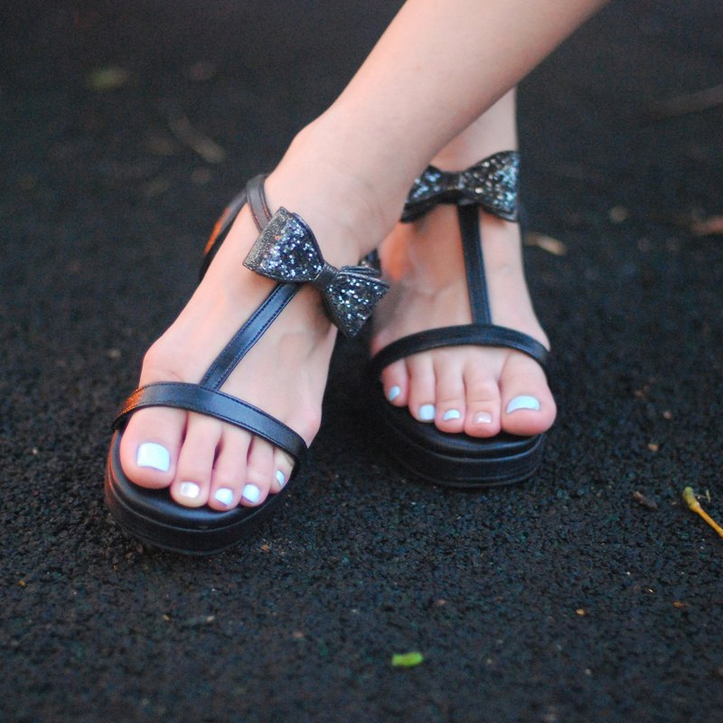 Sandal Black Glitter bow Rubber Sole