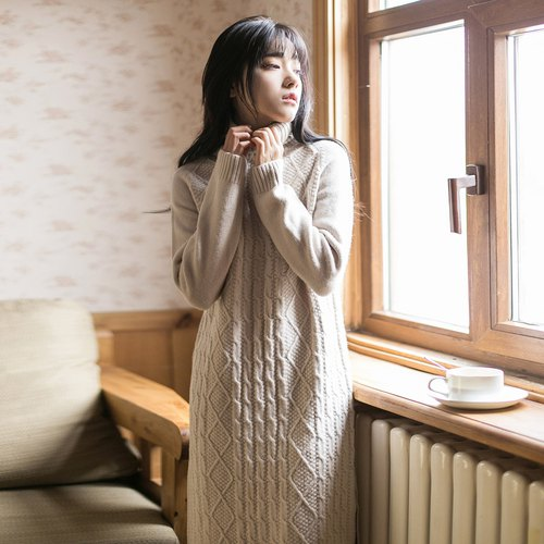Annie Chan 2017 winter new women's side-split high-necked knit dress dress