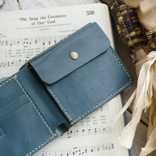 Blue-green classic gentleman short clip / wallet / card holder
