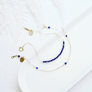 Lapis lazuli chain mini 2mm diamond cut faceagete Japanese style 14K GF non-fading gift