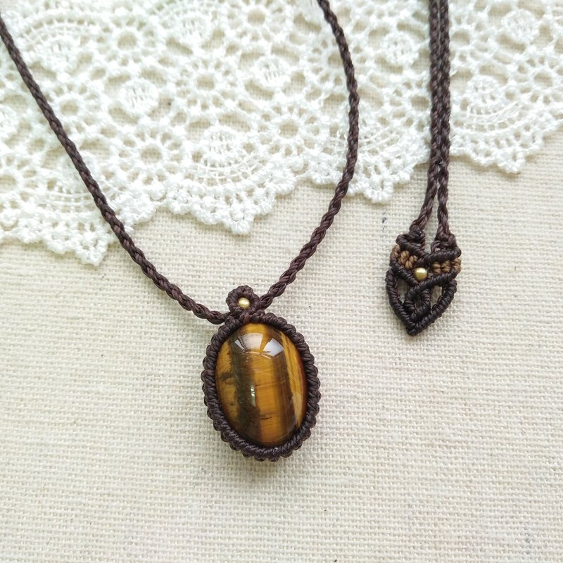 BUHO hand made. minimalism. Tiger Eye X South America wax wax necklace