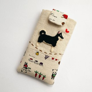 Blackwood dog embroidery phone bag (M) for 5 inch mobile phone