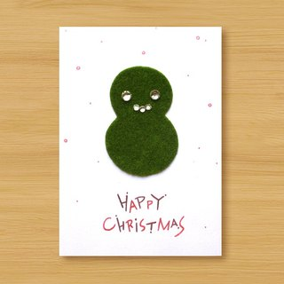 Handmade small turf card _ turf snowman HAPPY CHRISTMAS ... Christmas card