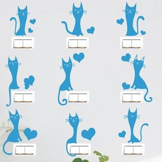 Smart Design Seamless wall stickers creative switch stickers ◆ love cats 8 color options
