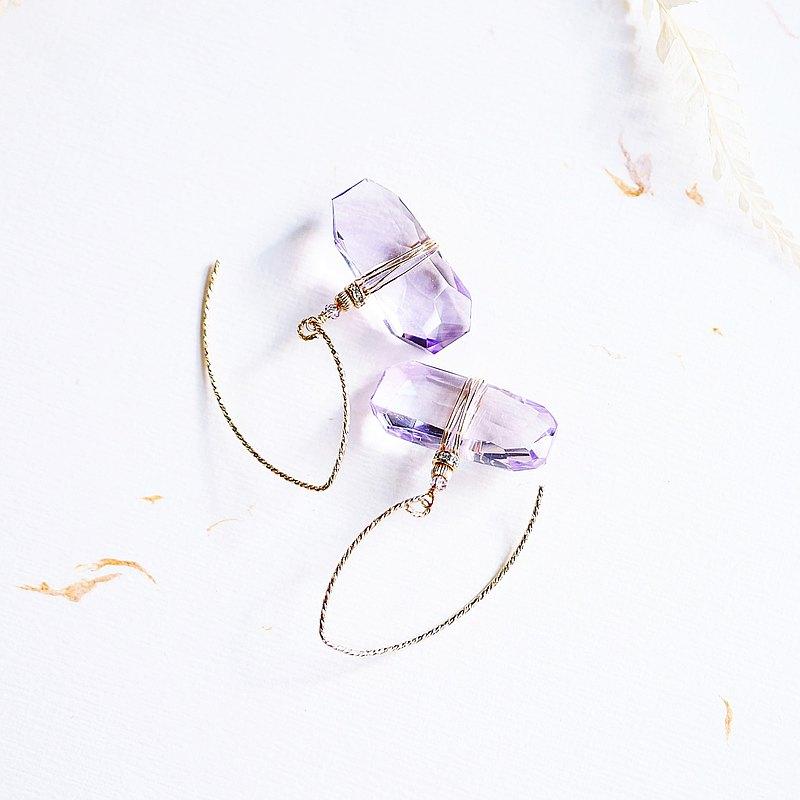 冰雪紫晶 隨意切割面閃耀耳環 全淨透體 天然石 輕珠寶耳夾