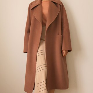 Taupe Coat - Bean Sand Camel Double-sided hand-knit Kashmir oversized coat (multi-color selection)