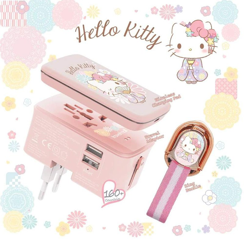 HELLO KITTY 10W WIRELESS CHARGING PAD, DUAL-USB CHARGER AND RING BUCKLE SET