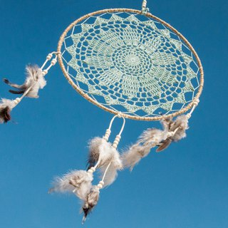Valentine's Day Gift Mother's Day gift Christmas gift exchange gifts ethnic style boho hand-woven cotton land dream catcher Dream Cather - lace powder blue plant dye + suede 30 cm
