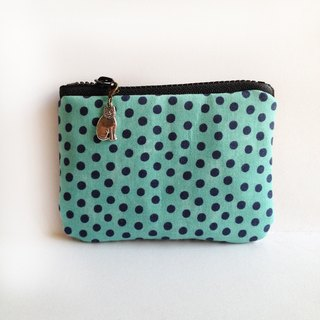 Blooming blue-green micro-sided little stripes kitty purse strap
